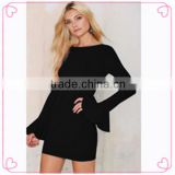 New products 2016 christmas girl dress black long sleeve mini dresses