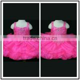 Pink Crystal Beading A Line Puffy Mini Custom Made Vestidos Flower Girl for Wedding TF002 organza flower girl dress