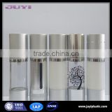 silver color empty aluminium cosmetic bottle packaging,pump top airless lotion bottles