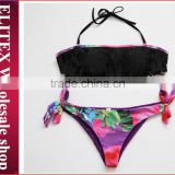 Wholesale Black Tassels Seamless Bottom Sexy Fashion bikini swimwear 2017