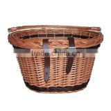 brown wicker bicycle basket with swing handle for bike