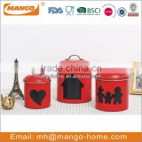 popular red powder coating stainless steel metal sugar airtight storage kitchen canister