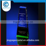 Jingyage Factory Directly Sell Unique Blue Crystal Trophy Plaque Souvenir Crystal Trophy Award Gift