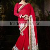Fascinating Red Colored Bridal Wear Saree
