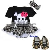 Baby Black Leopard Red Skull Pirate Bodysuit Tutu Crib Shoes Party Dress NB-18M