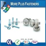 Taiwan JIS B1187 M3 M12 M4-0.7 x 12mm Phillips Pan Head Grade A2-70 Stainless Steel Square Conical Washer SEMS Machine Screw