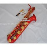 Support Professional Red Lacquer and Lacquer Gold Baritone Saxophone Sax High F# W/Leather Case