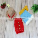 Baby Pants Set Knit Newborn Baby Boy Bonnet and Shorts Vintage Infant Clothes Photography Props