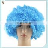 Crazy Party Cheap Short Curly Football Fan Blue Afro Wigs HPC-0090