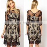 2014 new design black lace with white lining women maternity party dresses with long sheer sleeves made in China OEM
