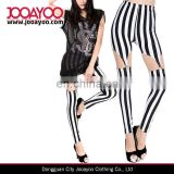 Sexy Women Black White Stripe Garter Suspender Slim Stretchy Leggings Pants