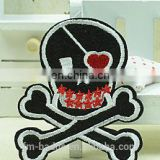 2016 Wholesale no MOQ High Quality Cool Skull Embroidery Patches for Biker Clothing in stock, skull with red heart
