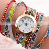 fashion printed leather Bracelet watch golden Quartz watch leather bracelets women leather bracelet watch gifts for her
