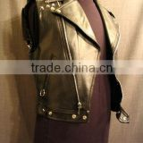 Sheep leather biker vest