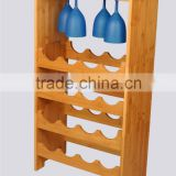 Bamboo 3-Tier Stackable Wine Rack with Glass Hanger, 16-Bottle Display Rack