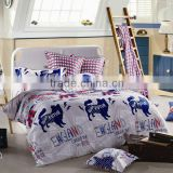 Reactive Dye Print Dog Bedding Cotton Child Duvet Cover Bed Set 205TC In White Blue Color
