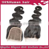 In stock best quality factory directly three parting body wave brazilian human hair lace closure