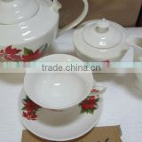 Flower decor new bone china 15pcs tea set, 15pcs tea set with pot stock