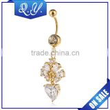 Dangling Flower Design Gold Plated CZ Navel Jewelry Body Piercing