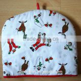 Hot Sale Heat Resistant Fabric Christmas Printed Cotton Tea Pot Cover,Promotion tea cosy
