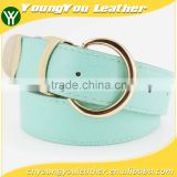 Women's fashion PU belt with Green leather & Gold D ring Buckle in chinese factory