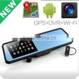 Android mirrors type car DVR camera with GPS Bluetooth Wifi and mini hidden car dvr camera