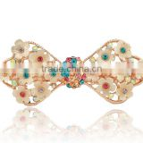 fashionable bow shape alloy crystal and plastic acrylic flowers barrette
