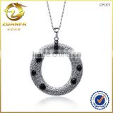 luxury top quality aaa cubic zirconia micro paved round pendant necklace jewelry in silver