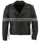 Mens Vented Classic Style Leather MC Jacket, Genuine Cowhide Leather CE Armours from Sialkot Pakistan