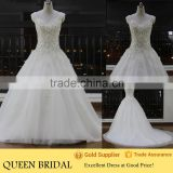 New Design V-neck Sleeveless Appliqued Lace Beads Embroidery China Guangzhou Wedding Dress