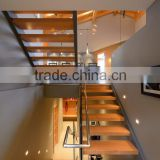 internal U shape double stringer stairs with rubber wood treads and frameless glass railings