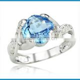 Lastest elegant cushion cut blue topaz gemstone diamond white gold ring