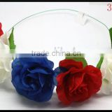 2015 Hot Sale Flower Girl's Flower Crown Halo Hair Wreath White/Blue/Red Flower Headband