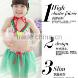 2015 adorable girl green yarn dress summer bikini kids swimming suit lovely lassock swimming set
