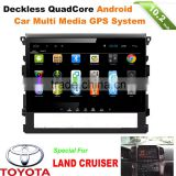 multi touch screen android car radio gps dvd entertainment system for Toyota land cruiser with wifi, bt, dvr, rear view input
