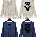 ladies fancy yarn boat neck intarsia jacquard fashion sweater