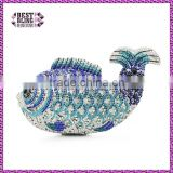 fashion blue fish stone clutch evening bag ladies small fancy fish crystal elegant ladies purses (88129A-B)