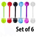 UV Glitter Bioplast Tongue Rings Set Body Piercing Jewelry