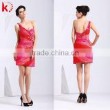 Modern one-shoulder sexy backless beaded chiffon short special occasions prom dress kt1066