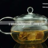 High quality Borocilicate Round Shape Clear glass flower Tea pot, with glass infusion tea pots