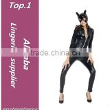 Black latex plain zipper front long jumpsuit sexy catsuit costume wholesale catwoman