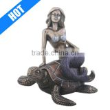Handmade Decorative Mermaid Statue on a Sea Turtle Figurine