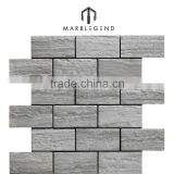 Antique Brick Design Surface Treatment Natural Grey Wooden Grain Vein Marble Material Stone Mosaic