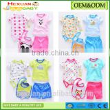 OEM factory or stocked designs 4pcs/set 100% cottonbaby romper set matching with baby bibs and socks