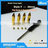 (MOQ:100pcs) Yeezy Inspired Screw on Metal Bullet Shoelaces Aglets in Gold & Silver &Gun Black - FREE Screwdriver