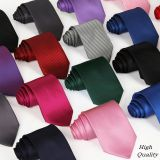 Striped Red Mens Silk Necktie Summer Solid Colors