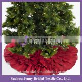 CTS020A red pleated cotton linen angel christmas tree ornament tree skirt
