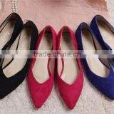 hot selling cheap wholesale women female suede flat finger pointed toe oxford sole shoes