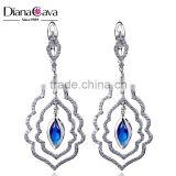 Trendy Bezel Setting Marquise Blue Crystal CZ Luxury Wedding Jewelry Hanging Earrings