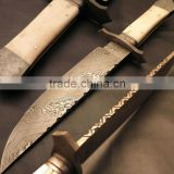 "udk h26"" custom handmade Damascus bowie knife/ hunting knife with Camel bone handle"